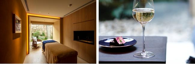 左 )トリートメントルーム イメージ  右 )チョコレートとシャンパン イメージ