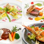 左上:白身魚のヴィエノワーズ風 春菊の香り ビーツのソースと共に、右上:牛フィレ肉のグリエ 彩り野菜のピュレと小野菜、左下:あぐー豚と和牛(県産)の煮込みハンバーグ フォンデュチーズ添え、右下:ロブスターのテルミドール 2021ボナペティスペシャル