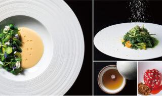群馬の郷土料理の進化版「SUITON」「農園より」「やよいひめ」「コンソメ」(左から時計回り)©️Shinya Kigure