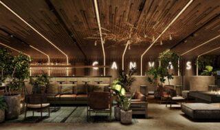 北海道産木材を内装に使ったラウンジ。週末の音楽イベントや地元アーティストとのコラボイベントも予定。