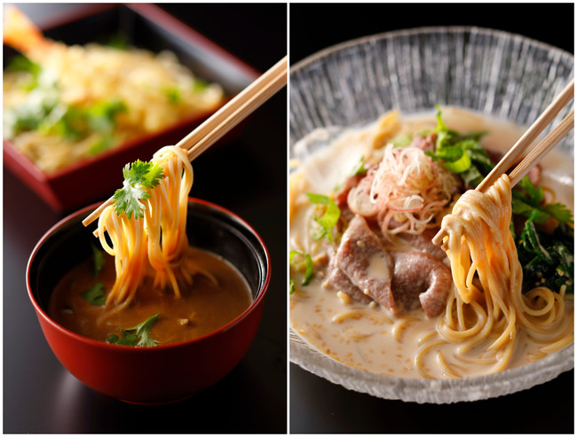 ZENBカレーつけ麺 海老天付、尾崎牛しゃぶしゃぶのぶっかけZENB麺