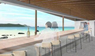 奄美随一の美しい海が広がる赤木名湾の絶景を楽しめるレストラン。(パース画像)